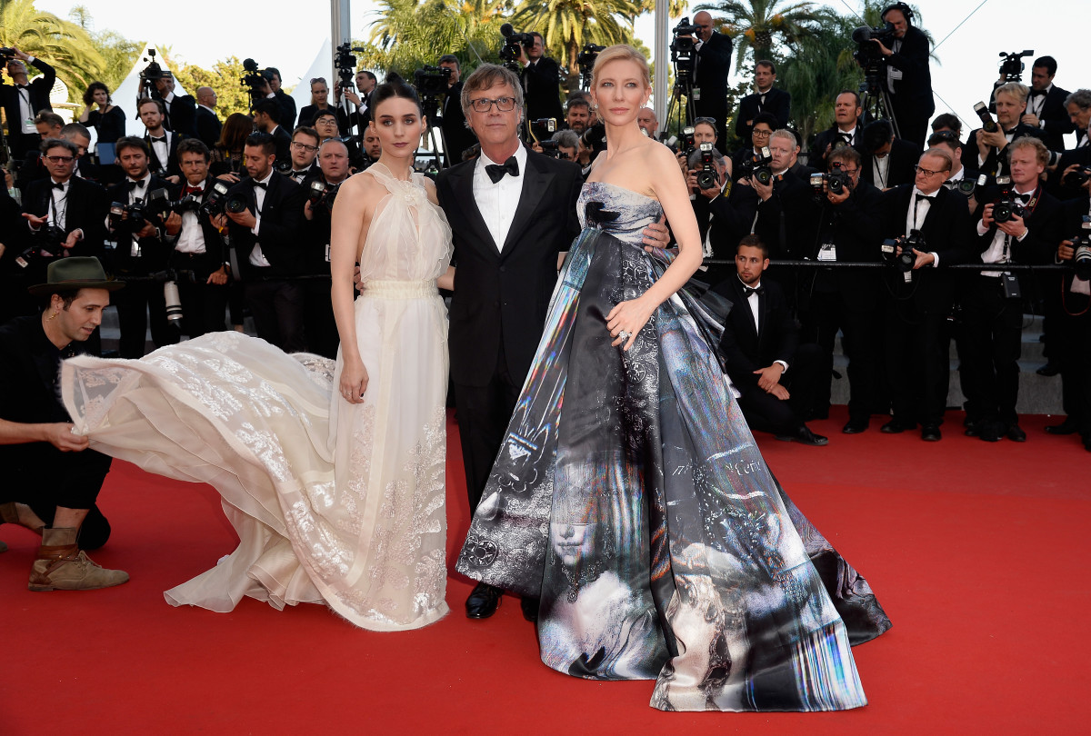 "Rooney Mara, director Todd Haynes and Cate Blanchett attend the Premiere of ""Carol"" at the Cannes Film Festival on May 17. Photo: Pascal Le Segretain/Getty Images"