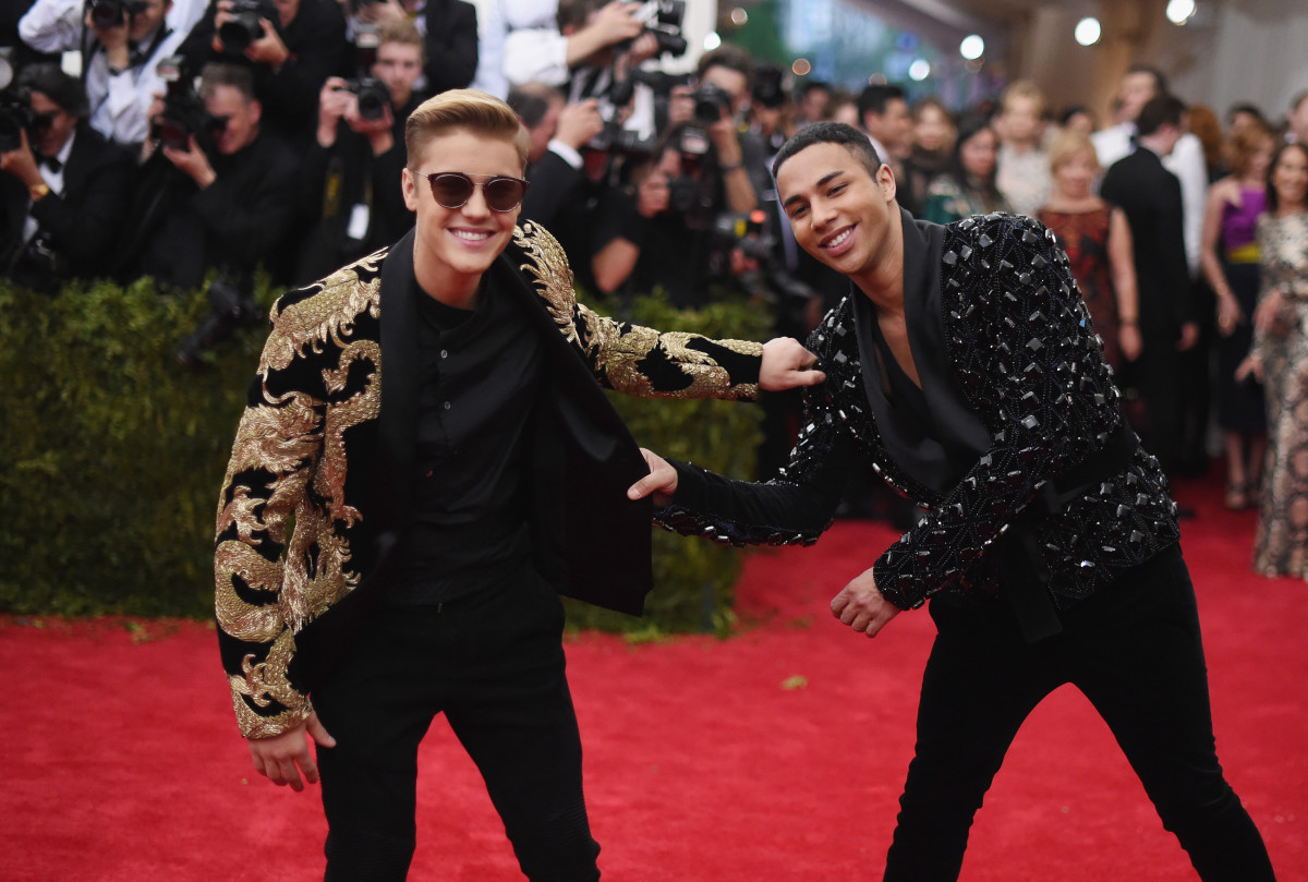 Justin Bieber with Olivier Rousteing at the Met Gala. Photo: Mike Coppola/Getty Images