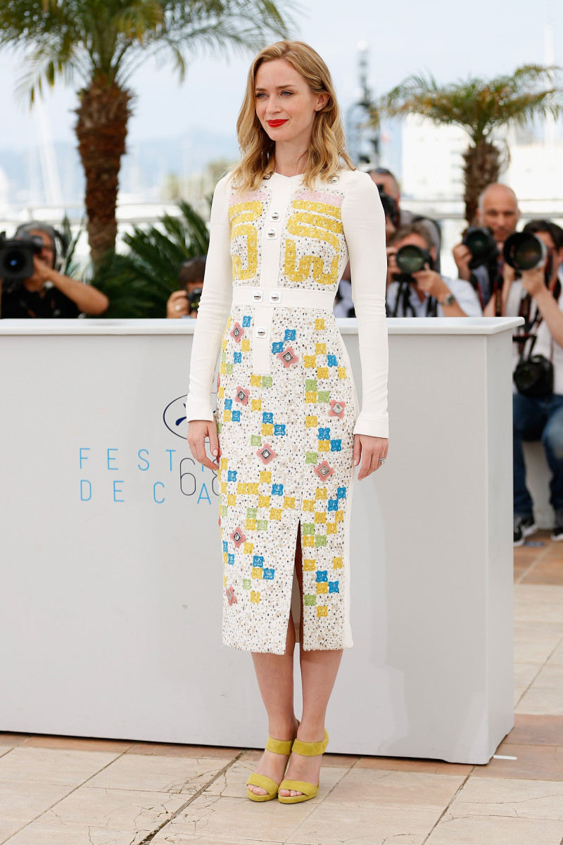 "Emily Blunt in Peter Pilotto at a photocall for ""Sicario"" during the 68th annual Cannes Film Festival. Photo: Tristan Fewings/Getty Images"