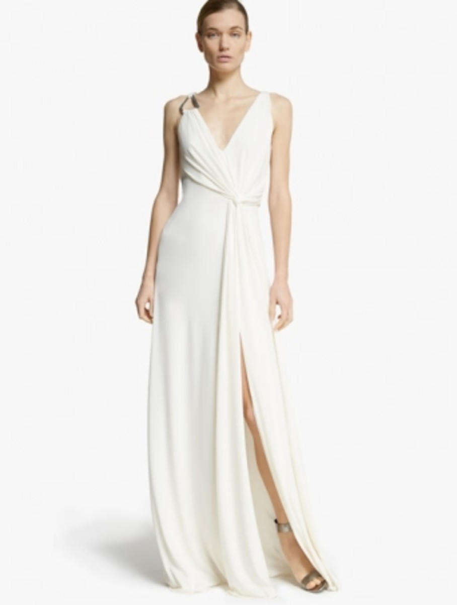 A Halston Heritage draped jersey gown with hardware details, $425. Photo: Halston Heritage