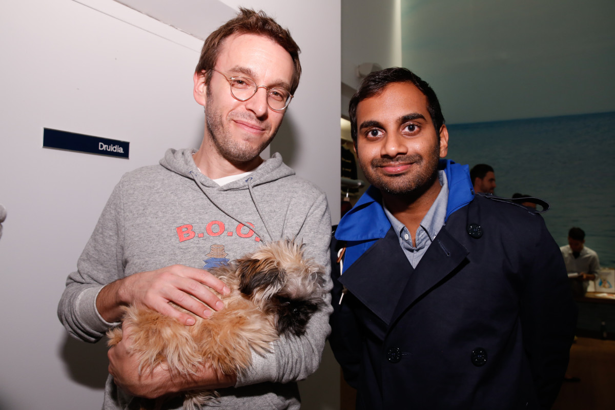 Designer Scott Sternberg and actor Aziz Ansari at a Band of Outsiders event. Photo: JP Yim/Getty Images Entertainment