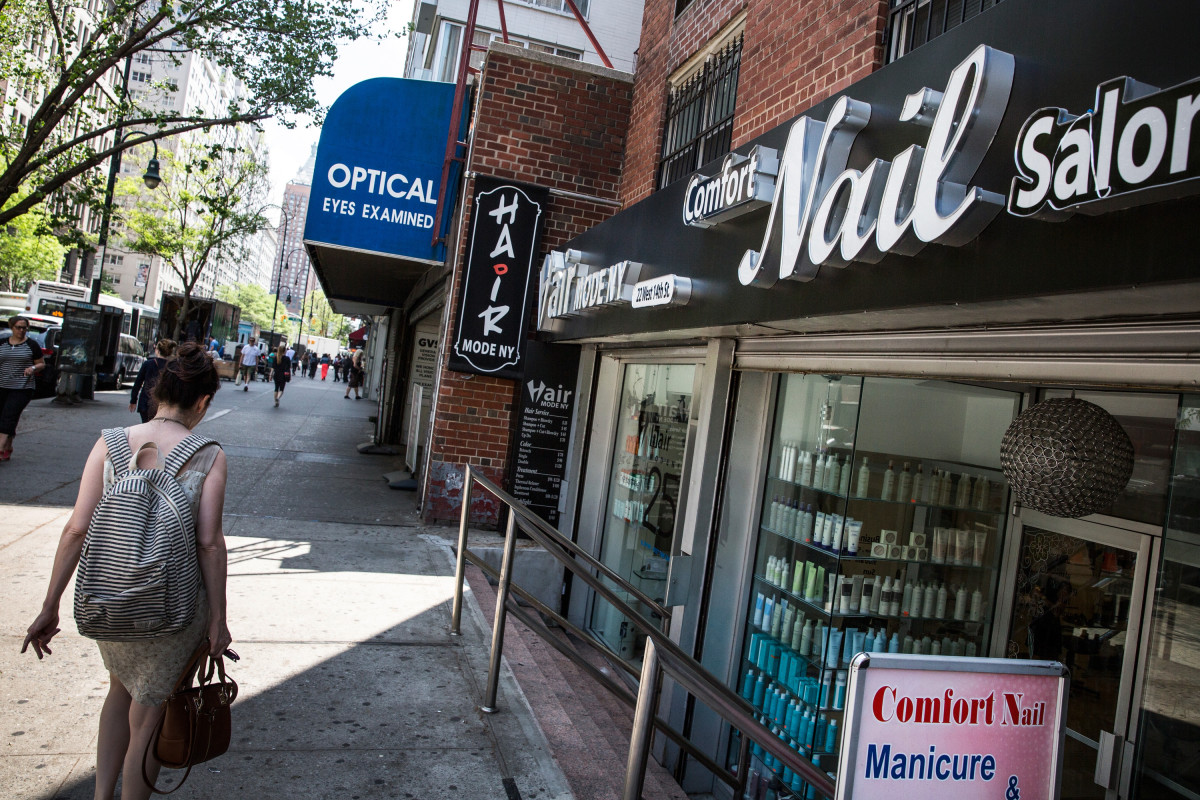 A photo of a Greenwich Village nail salon taken on May 11. Photo: Andrew Burton/Getty Images