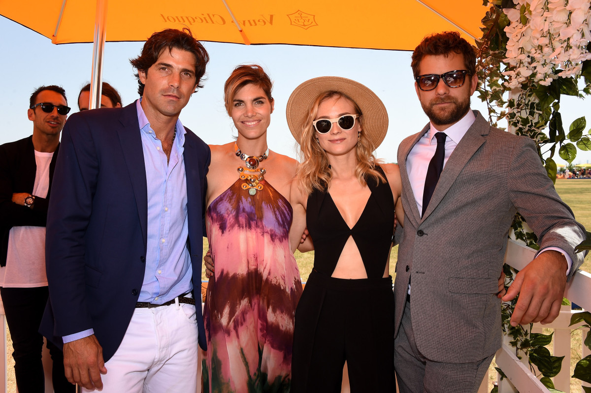 Black Watch captain and polo player Nacho Figueras, his wife Delfina Blaquier, Diane Kruger and Joshua Jackson hang out before the match begins. Photo: Dimitrios Kambouris/Getty Images