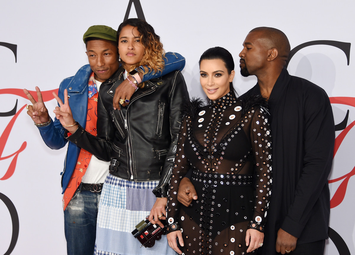 Pharrell Williams, Helen Lasichanh, Kim Kardashian and Kanye West. Photo: Dimitrios Kambouris/Getty Images