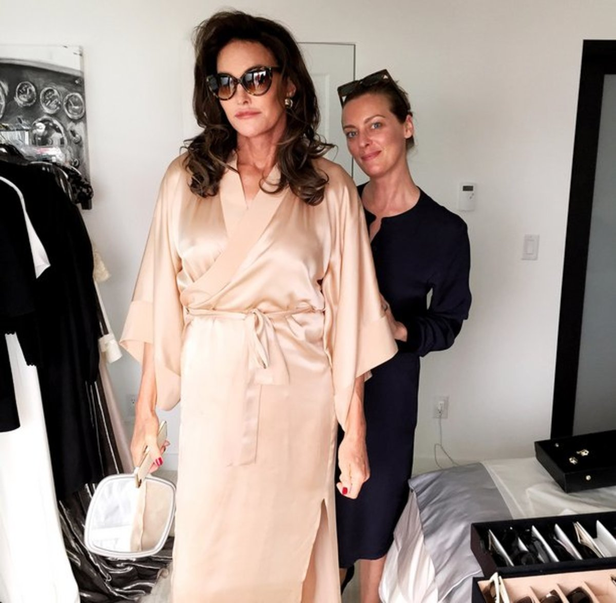 Jessica Diehl and Caitlyn Jenner on the set of the 'Vanity Fair' cover shoot. Photo: Vanity Fair