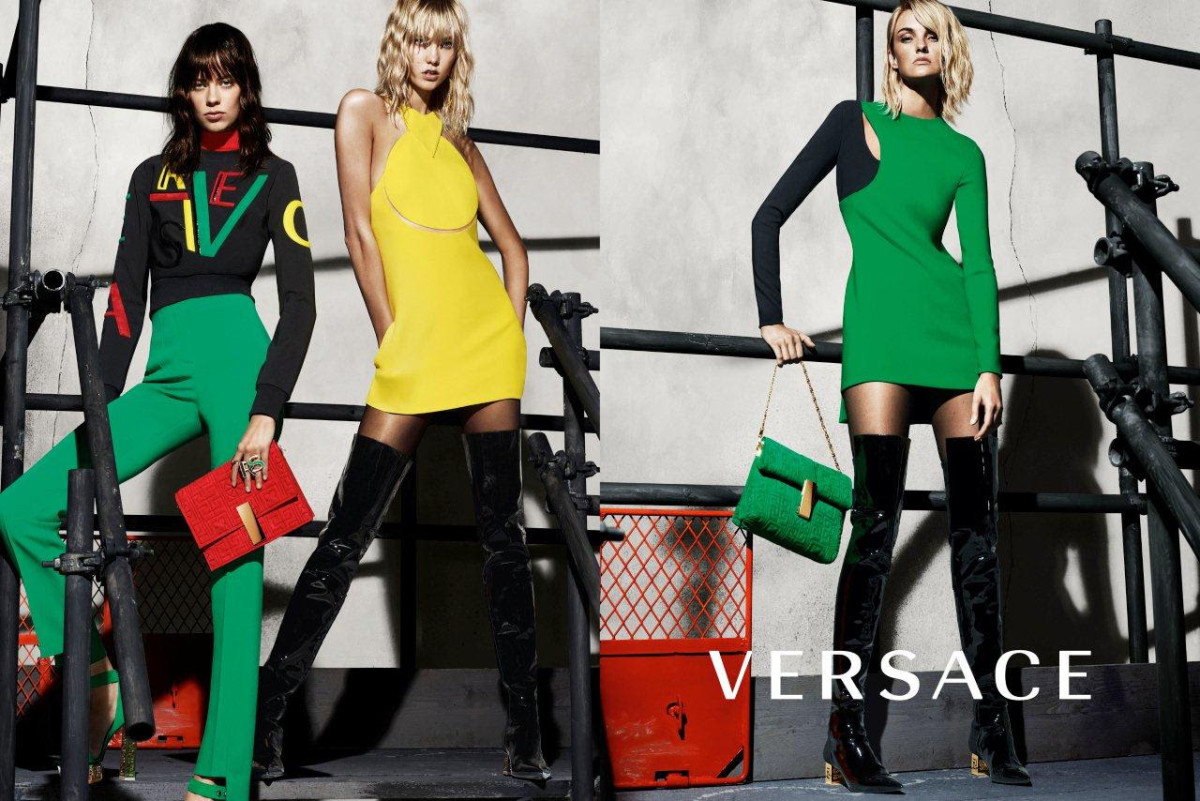 Lexi Boling, Karlie Kloss and Caroline Trentini in Versace's Fall/Winter 2015. Photo: Versace.