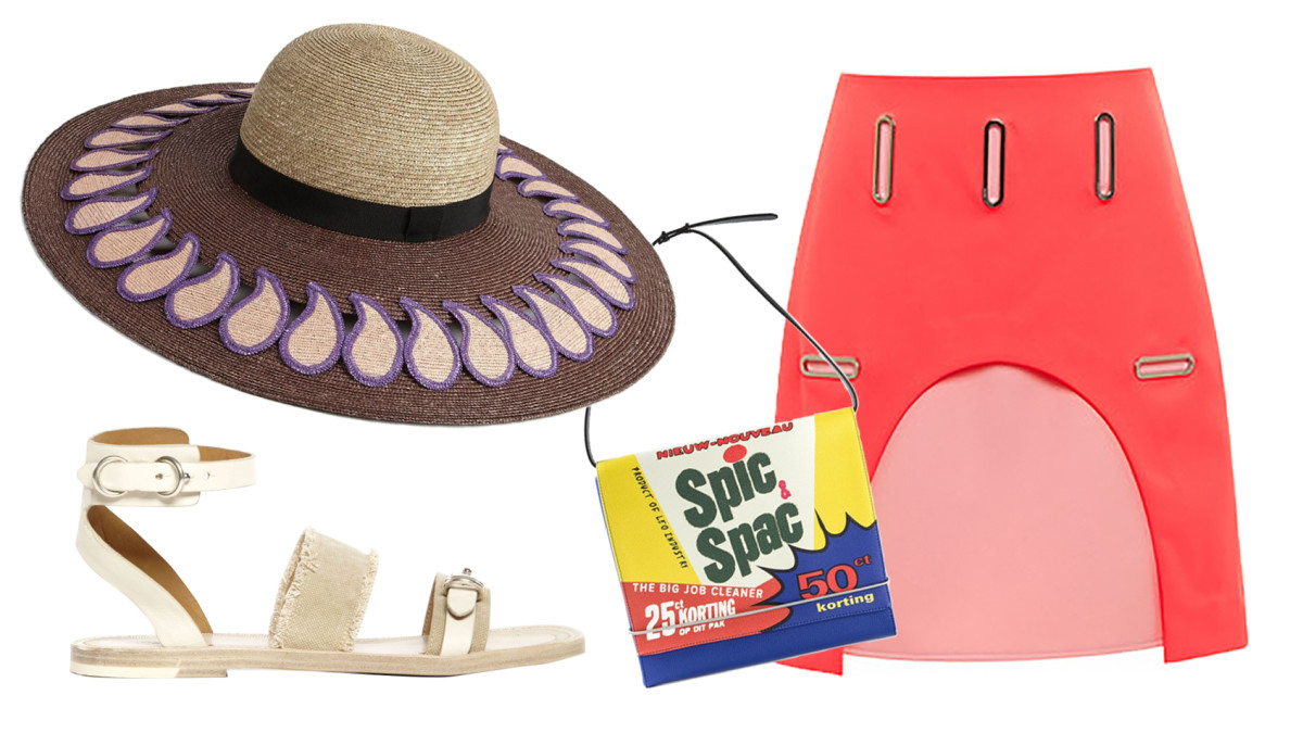 Rag & Bone Lara Sandal, $227.50 (from $325), available at Otte; Etro Paisley Sun Hat, $556 (from $795), available at Saks Fifth Avenue; Opening Ceremony Marny Double Face Grommet Cut-Out Skirt $156 (from $325), available at Moda Operandi; LEO 'Spic Spac' shoulder bag, $61.69 (from $102.82), available at Farfetch.