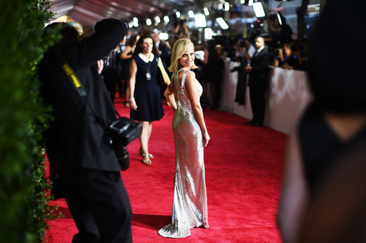 Host Kristin Chenoweth arrives in Zac Posen at the Tony Awards. Photo: Andrew H. Walker/Getty Images