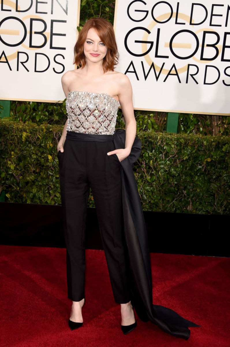Emma Stone in Lanvin at the 2015 Golden Globe Awards. Photo: Jason Merritt/Getty Images