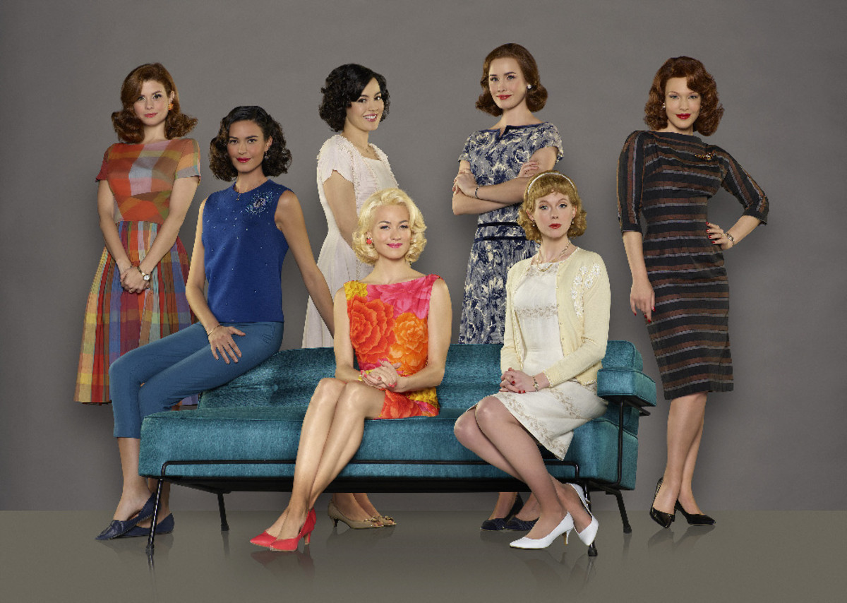 From left to right: JoAnna Garcia Swisher as Betty Grissom, Odette Annable as Trudy Cooper, Azure Parsons as Annie Glenn, Yvonne Strahovski as Rene Carpenter, Dominique McElligott as Louise Shepard, Zoe Boyle as Jo Schirra and Erin Cummings as Marge Slayton. Photo: Bob D'Amico/ABC