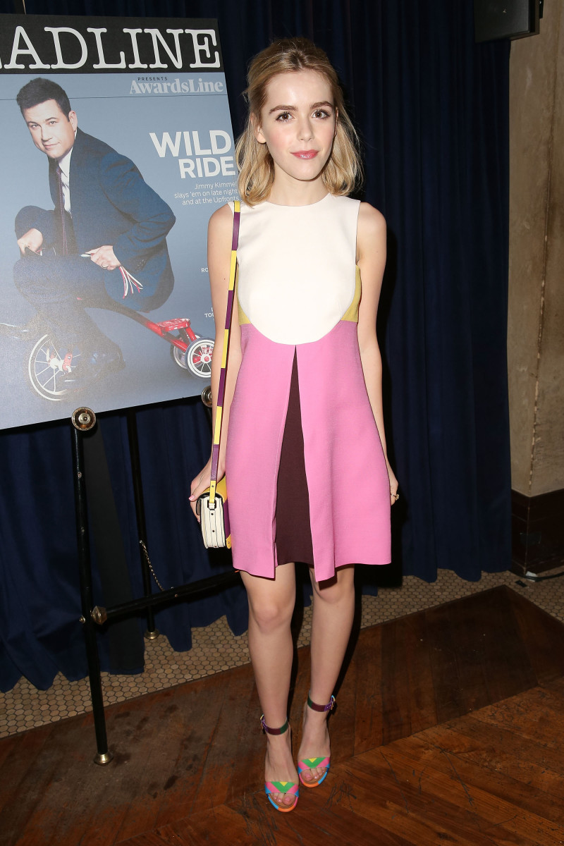 Kiernan Shipka in Valentino. Photo: Imeh Akpanudosen/Getty Images for Deadline