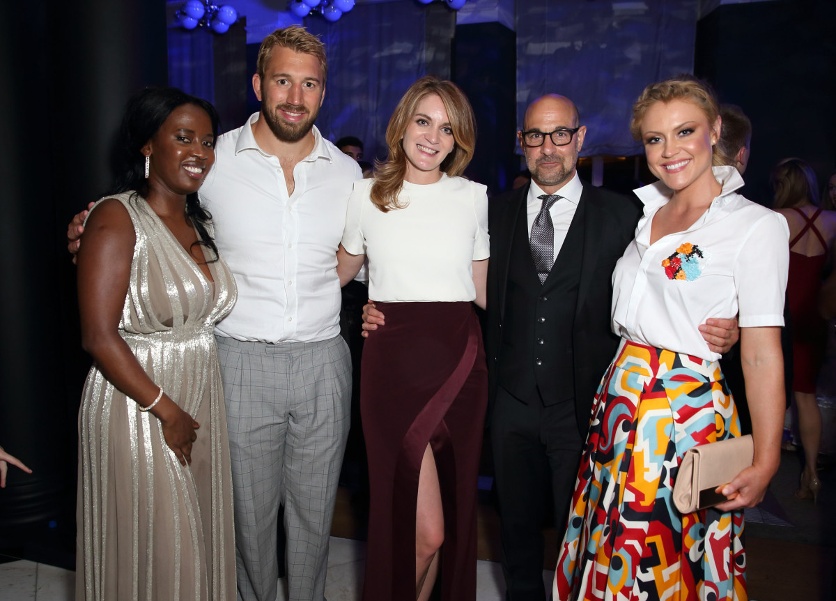 Sofia Davis, Chris Robshaw, Felicity Blunt, co-host Stanley Tucci and Camilla Kerslake. Photo: One for the Boys