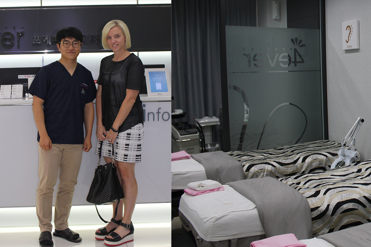 Dr. Jung Hae-Jin and I at the 4-ever Plastic Surgery & Skin Clinic and the facial room at the clinic. Photo: Cheryl Wischhover/Fashionista