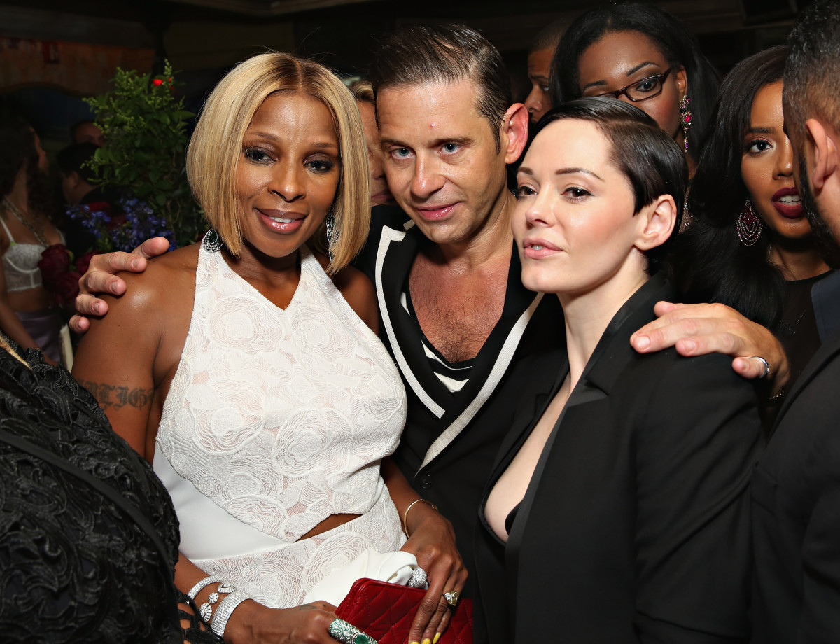 Mary J. Blige, Derek Anderson and Rose McGowan. Photo: Cindy Ord/Getty Images