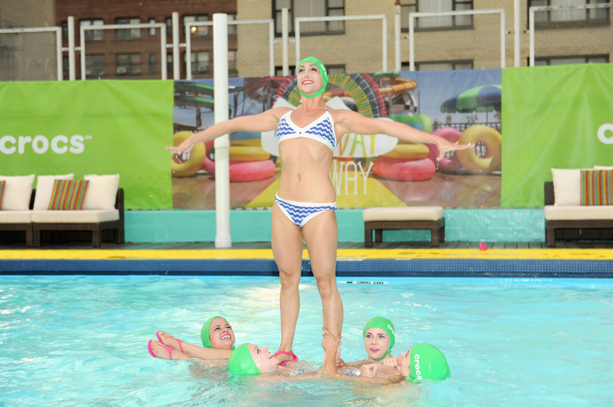 The Aqualillies perform at the Crocs Funway Runway fashion show. Photo: Craig Barritt/Getty Images for Crocs