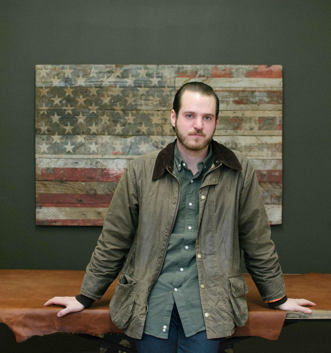 Mark Bollman in his patriotic Ball and Buck office in Industry City, Brooklyn. Photo: Ball and Buck