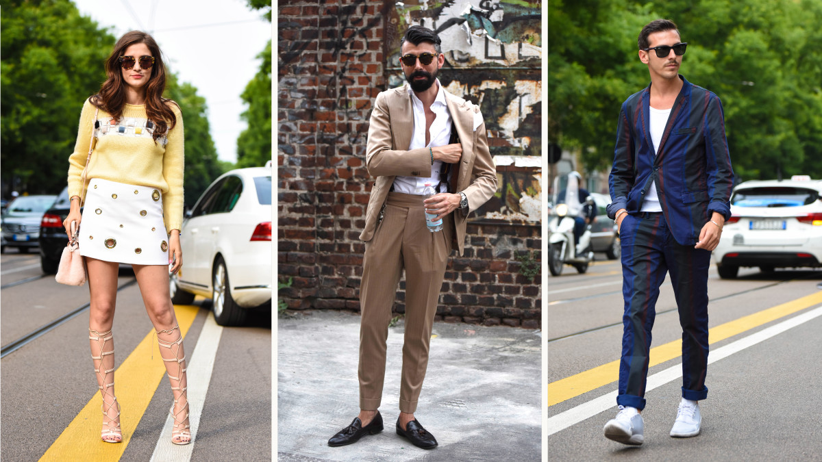 Outside the men's shows in Milan in June. Photos: Sarah Jane Barnes/Fashionista