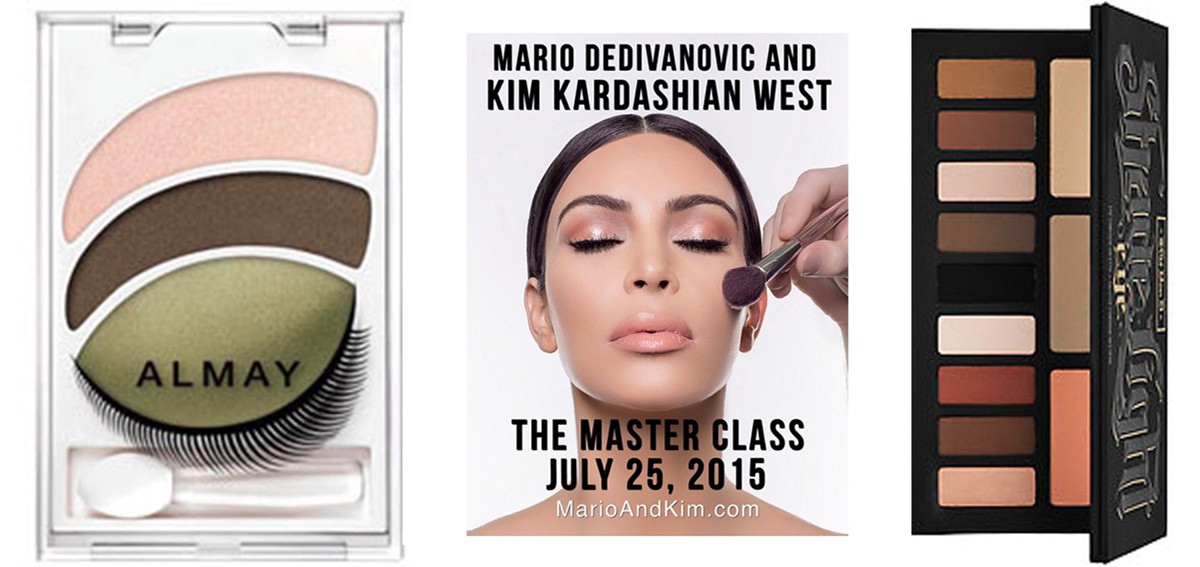 Old school eye shadow vs. newfangled eye contouring. Photos: Almay, Kim Kardashian/Instagram and Sephora