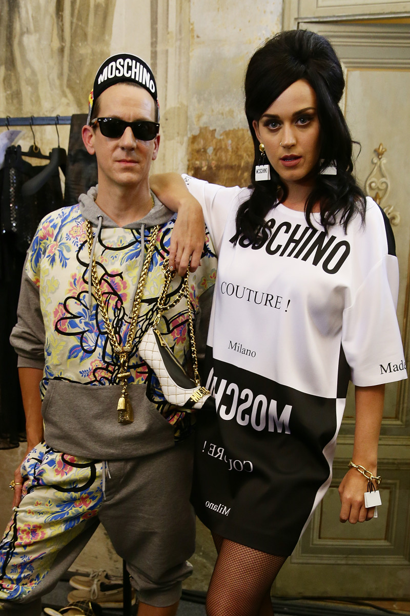 Jeremy Scott and Katy Perry at the Moschino spring 2016 menswear show. Photo: Vittorio Zunino Celotto/Getty Images