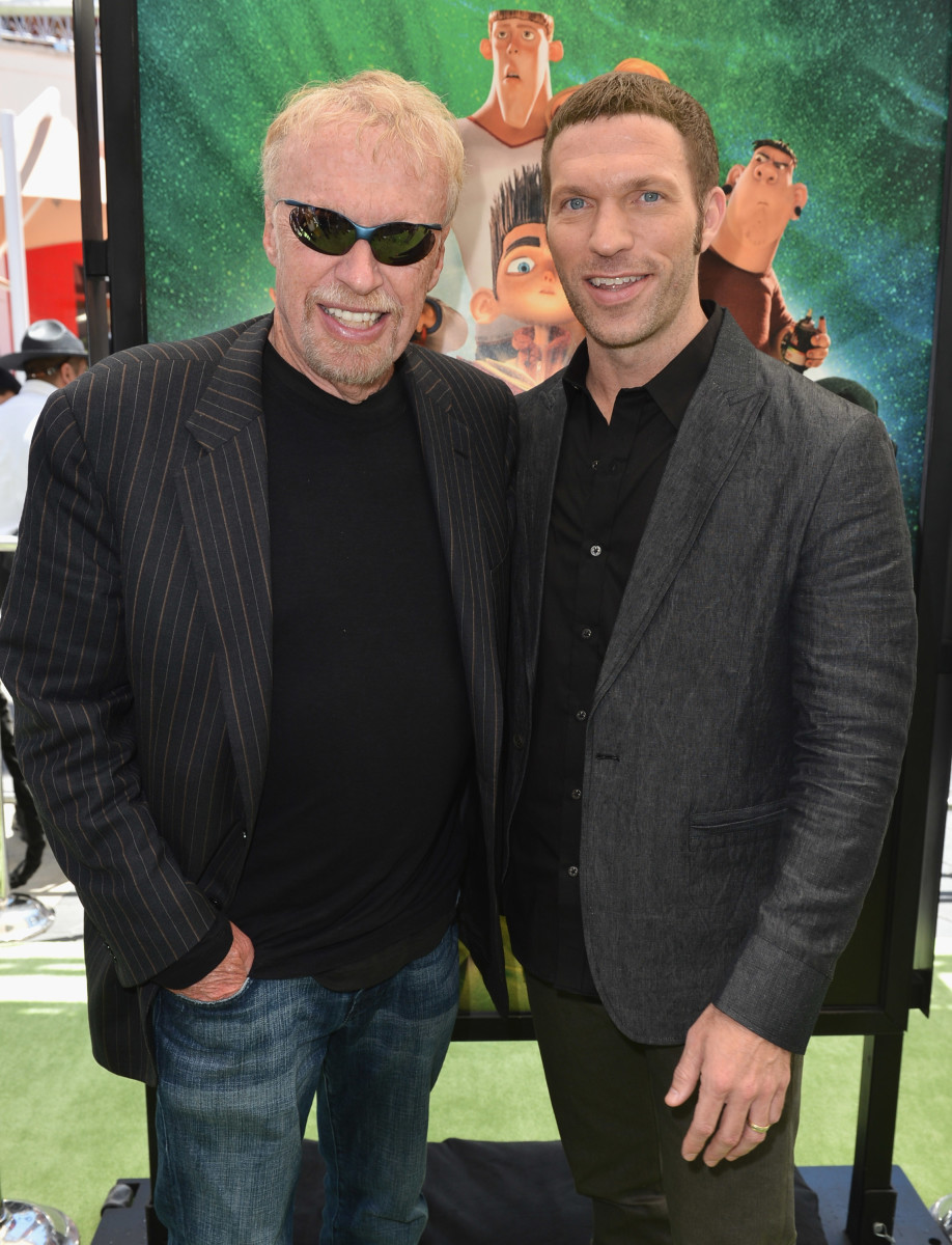 Phil Knight and his son Travis Knight in 2012. Photo: Alberto E. Rodriguez/Getty Images