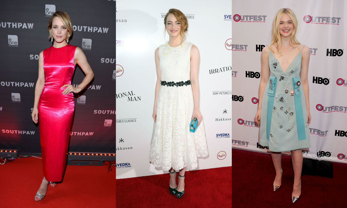 The American flag in European designer fashion-form. Rachel McAdams, Emma Stone and Elle Fanning. Photos: Getty Images