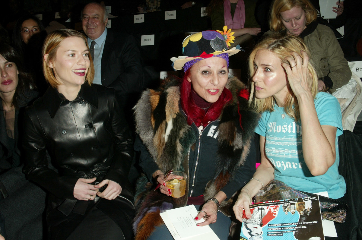 Patricia Field sitting front row at the Narciso Rodriguez runway show in 2003 with Claire Danes and Sarah Jessica Parker. Photo: Evan Agostini/Getty Images