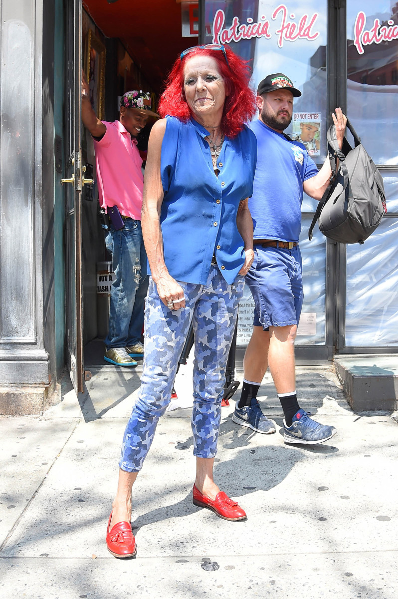 Patricia Field in front of her namesake store on Bowery Street. Photo: Josiah Kamau/Getty Images