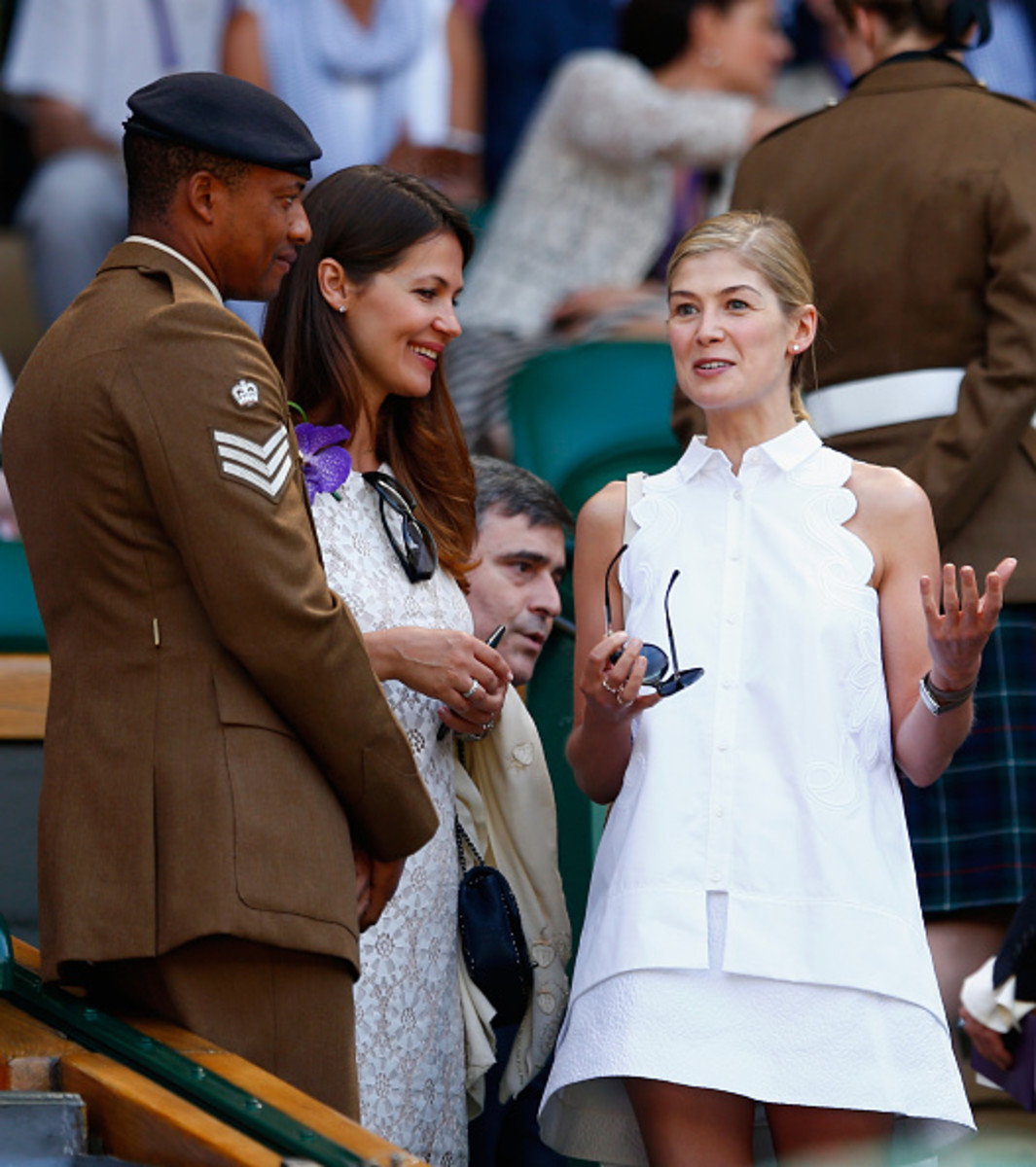 Rosamund Pike at Wimbledon. Photo: Julian Finney/Getty Images
