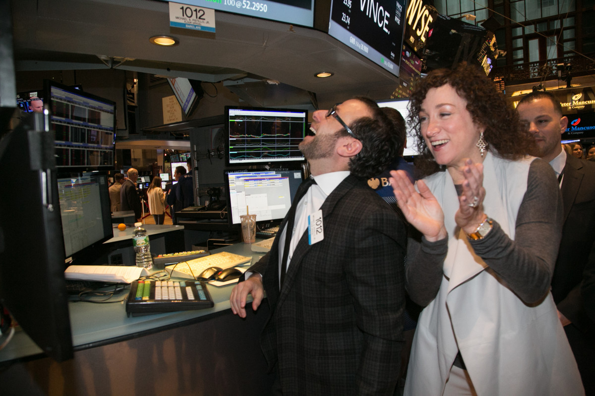 Granoff, right, celebrating the start of Fashion Week with Vince ringing the opening bell at the New York Stock Exchange. Photo: Nomi Ellenson/Getty Images