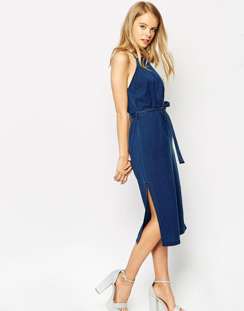 35f63b9b294 ASOS denim cross back midi dress with tie
