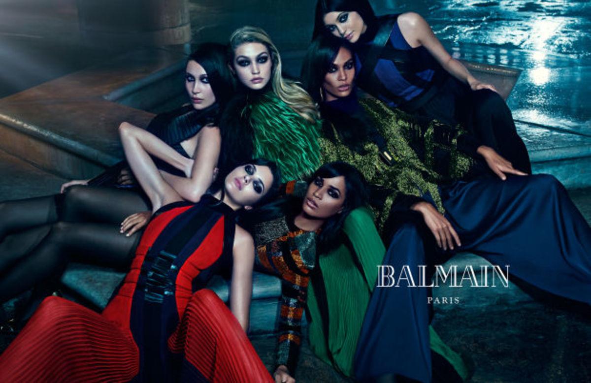 Kendall and Kylie Jenner, along with Gigi and Bella Hadid and Joan Smalls and sister Erika, star in Balmain's Fall/Winter 2016 campaign. Photo: Balmain.