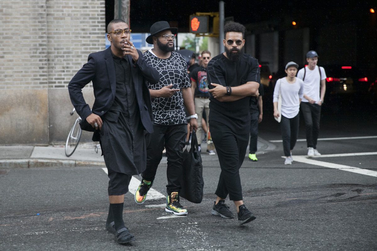 Street style at New York Fashion Week: Men's. Photo: Emily Malan/Fashionista