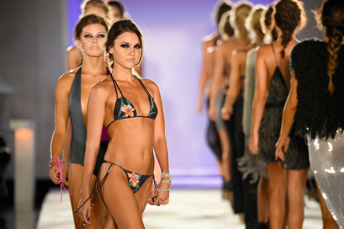 The finale of Indah's spring 2016 collection at Miami Swim Week. Photo: Frazer Harrison/Getty Images