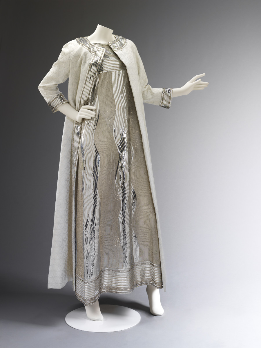 Mila Schön. Sequined evening dress and silk coat. Worn and given by Princess Stanislas Radziwill. Worn to Truman Capote's Black and White Ball, 1966. Photo © Victoria and Albert Museum, London