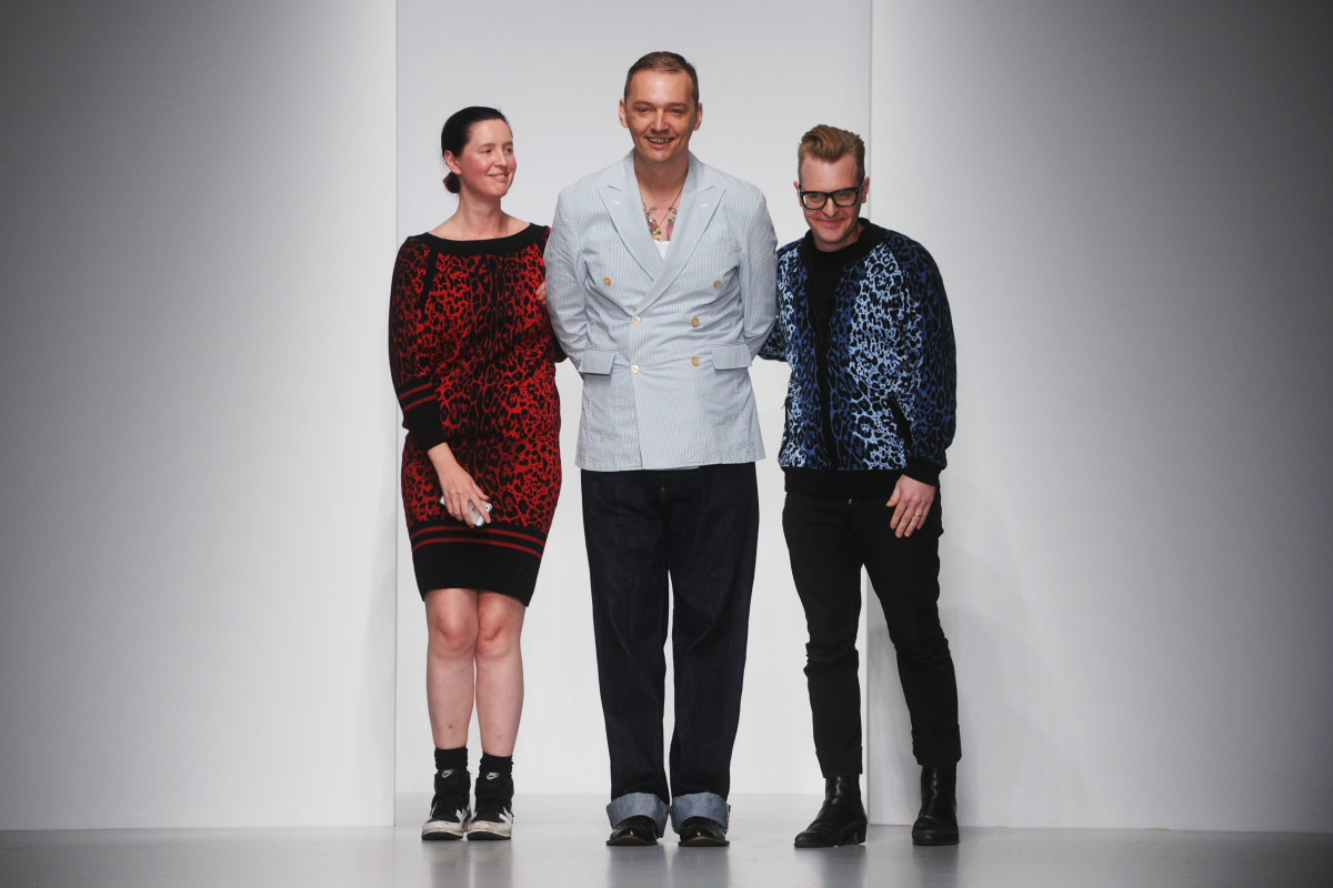Designers Cozette McCreery, Joe Bates and Sid Bryan at Sister by Sibling's spring 2014 show at London Fashion Week. Photo: Stuart C. Wilson/Getty Images
