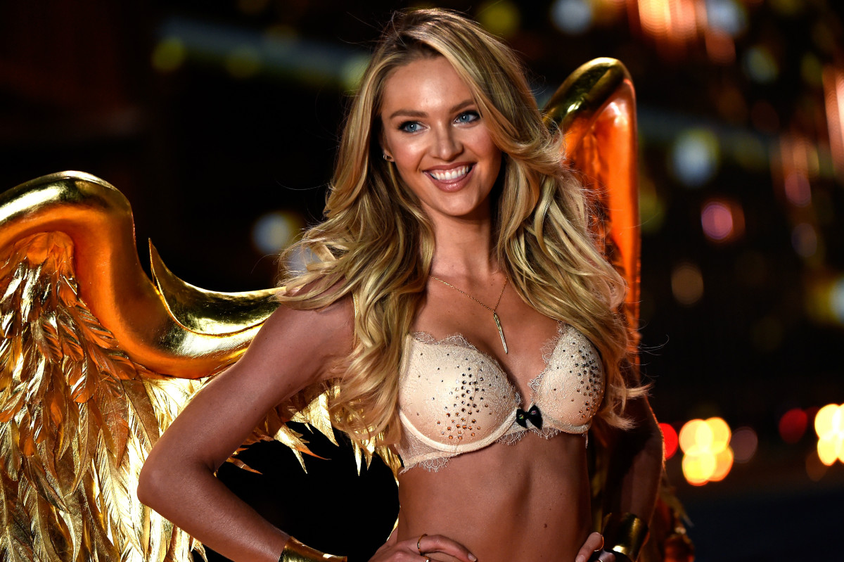 Expertly bronzed specimen Candice Swanepoel at the 2014 Victoria's Secret Fashion Show in London. Photo: Pascal Le Segretain/Getty Images