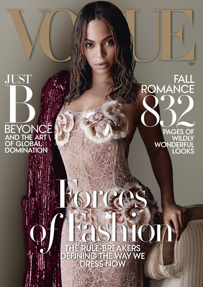 "Beyoncé in Marc Jacobs on the cover of ""Vogue""'s 2015 September issue. Photo: Mario Testino/""Vogue"""