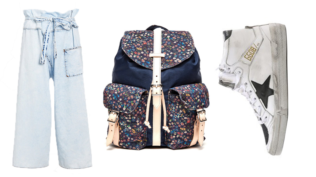 Basic Terrain pants, now $49, available at Intermix; Herschel Liberty Dawson backpack, now $112.99, available at Need Supply; Golden Goose sneakers, now $301.50, available at Shopbop.
