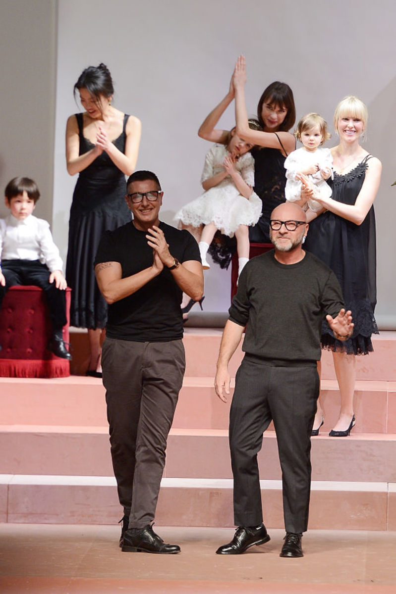Stefano Gabbana and Domenico Dolce at the Dolce & Gabbana fall 2015 show. Photo: Pietro D'Aprano/Getty Images