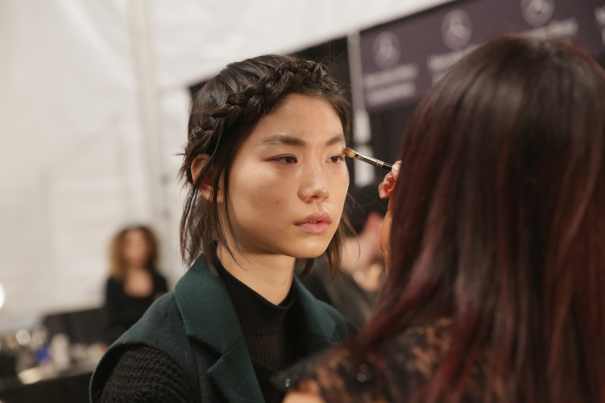 Backstage at New York Fashion Week. Photo: Chelsea Lauren/Stringer