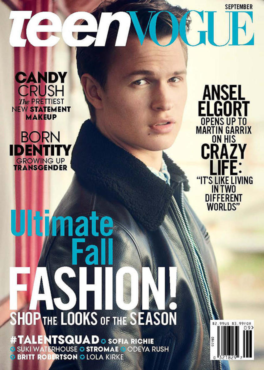 Ansel Elgort on 'Teen Vogue.' Photo: Boo George/Teen Vogue