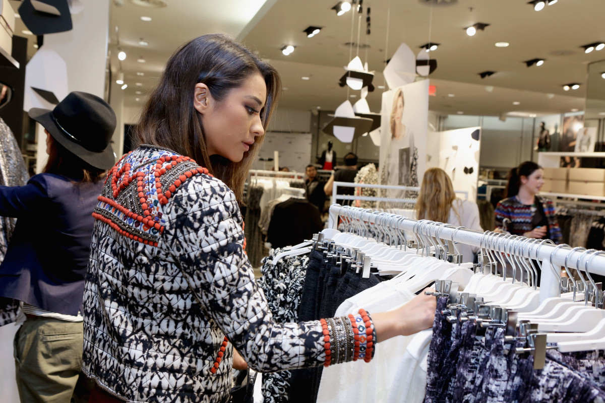 Actress Shay Mitchell shops the Isabel Marant x H&M collection. Photo: Getty Images