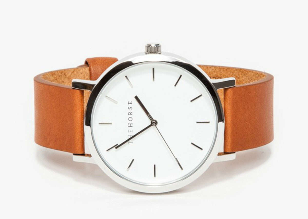 The Horse Silver/Tan Band Watch, $119, available at Need Supply.