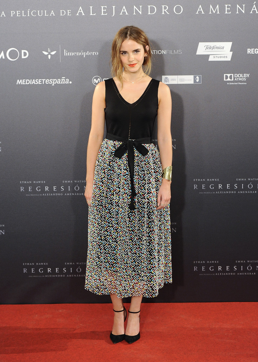 Emma Watson at a Madrid photocall for 'Regression' on Thursday. Photo: Fotonoticias/WireImage