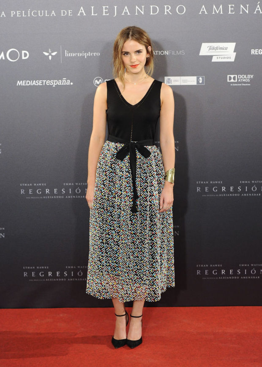 Emma Watson in a Christoper Kane gown on the 'Regression' press tour. Photo: Fotonoticias/WireImage.