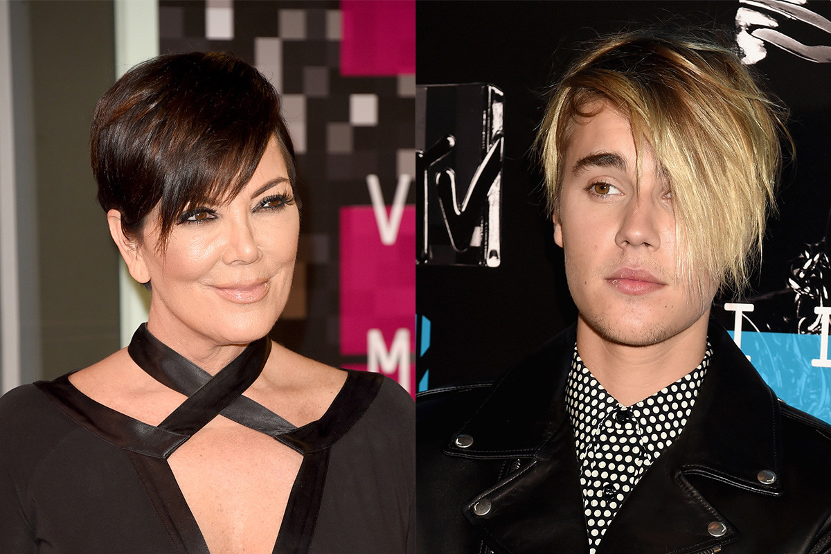 Kris Jenner and Justin Bieber. Photos: Jason Merritt/Jeff Kravitz Getty Images