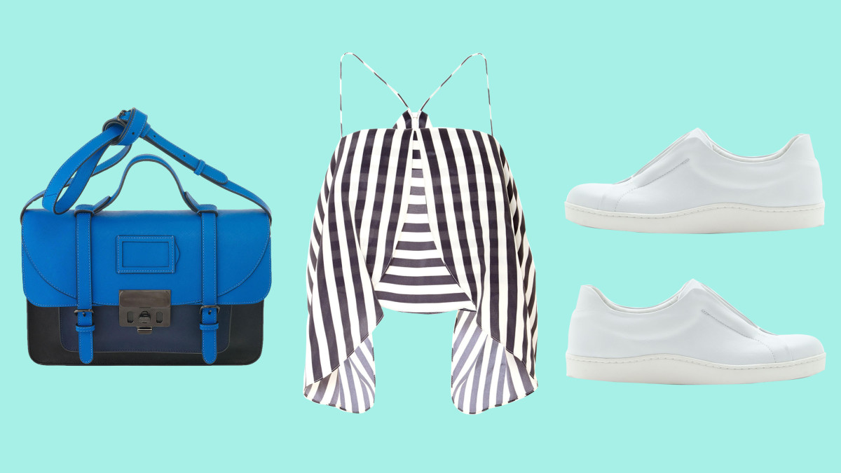 Marc by Marc Jacobs bag, now $369.60, available at Marc Jacobs; Kaelen top, now $171, available at Kaelen; Cos sneakers, now $94, available at Cos.