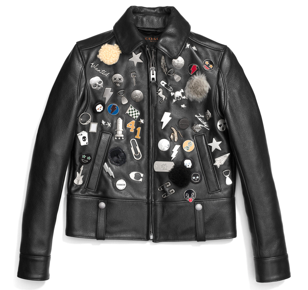Coach embellished racer jacket, $1,550, available at Coach.