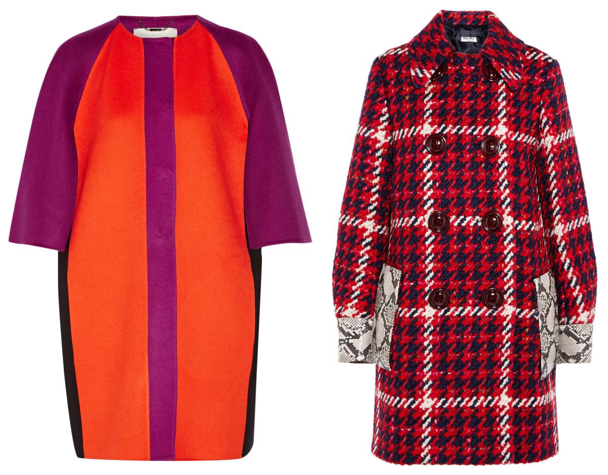 Fendi cape-effect wool-felt coat, $2,700, available at Net-a-Porter; Miu Miu coat, $4,585, available at Net-a-Porter.