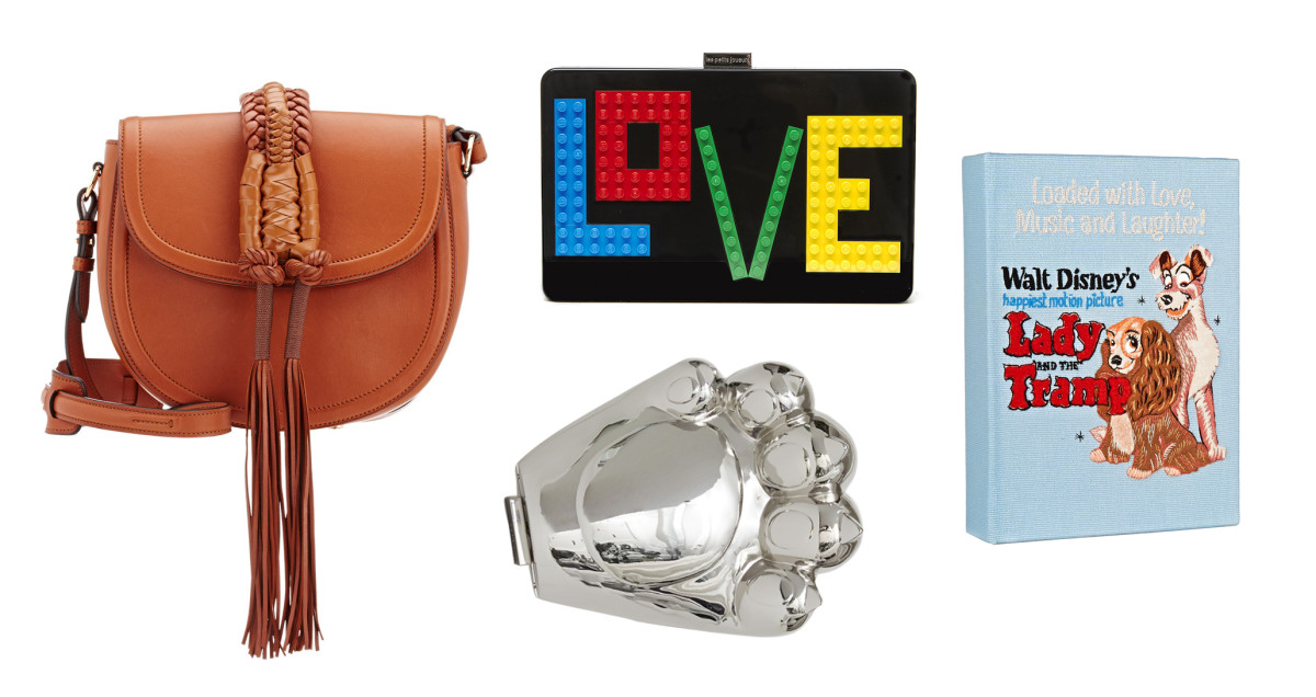 Altuzarra small saddle bag, $2195, available at Barneys; Les Petits Joueurs Andy Rainbow Love clutch,$780, available at Neiman Marcus; Kenzo metal claw shoulder bag, $425, available at Opening Ceremony; Olympia Le-Tan Lady and the Tramp clutch, $1880, available at Net-a-Porter.